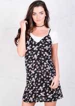 Floral Shift Cami Day Dress Black