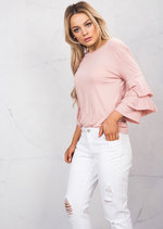 Frill Sleeve Jersey Crop Top Pink