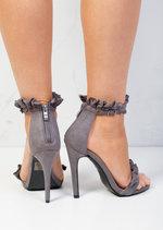 Frill Strappy Stiletto Heeled Sandals Suede Grey
