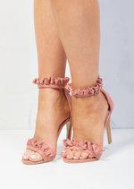 Frill Strappy Stiletto Heeled Sandals Suede Blush Pink