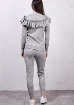 Frilled Bardot Design Tracksuit Loungewear Set Co Ord Grey