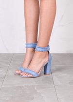 Fringe Buckle Chunky Heeled Ankle Strap Sandals Light Denim Blue