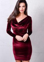 Full Sleeve Cowl Neck Velvet Bodycon Dress Burgundy Red