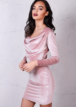 Full Sleeve Cowl Neck Velvet Bodycon Dress Pink