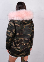 Fully Fleeced Camo Parka with Pink Fur Hooded Khaki Green