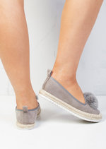 Pom Pom Faux Suede Espadrilles Cleated Slip On Sneaker Pumps Grey