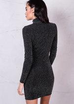 Glitter Long Sleeve Bodycon Dress with Choker Details Black