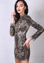 Gold Sequin Backless Mini Bodycon Dress Black