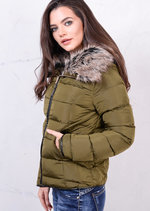 Grey Faux Fur Collar Quilted Padded Puffer Jacket Coat Khaki Green
