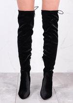 High Over The Knee Tie Back Boots Velvet Black