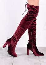 High Over The Knee Tie Back Boots Velvet Burgundy Red