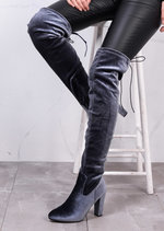 High Over The Knee Tie Back Boots Velvet Grey