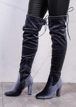 High Over The Knee Tie Back Boots Velvet Grey