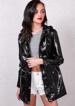 High Shine Rain Mac Festival Hooded Jacket Black