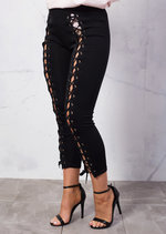 High Waisted Lace Up Jersey Leggings Black