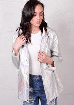 Holographic Rain Coat Mac Coat Festival Jacket Silver