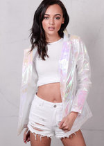 Holographic Rain Coat Mac Coat Lightweight Festival Jacket White