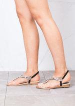 Jewel Embellished Low Wedge Sandals Black