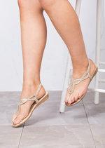 Jewel Embellished Low Wedge Sandals Rose Gold