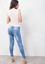 Knee Ripped Distressed Supper Skinny Jeans Light Blue