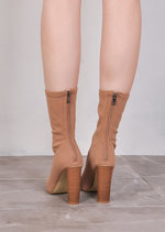 Knit Stretchy Sock Ankle Boots Mocha