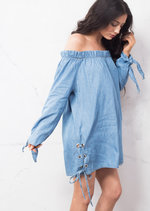 Lace Up Denim Bardot Dress Light Blue