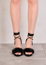 Lace Up Feather Heeled Sandals Suede Black