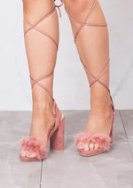 Lace Up Feather Heeled Sandals Suede Blush Pink