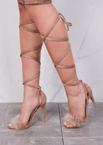 Lace Up Feather Stiletto Sandals Mocha