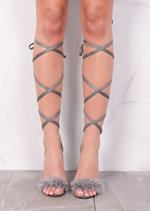Lace Up Feather Stiletto Sandals Grey