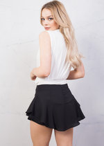 Layered Frill Floaty Mini Shorts Black