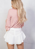 Layered Frill Floaty Mini Shorts White