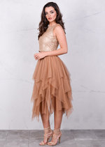 Layered Tutu Midi Skirt Mocha