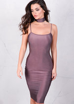 Lightweight Metallic Bodycon Midi Dress Plum Purple