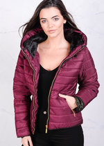 Lightweight Quilted Puffer Jacket Coat Burgundy