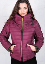 Lightweight Quilted Puffer Jacket Coat wine