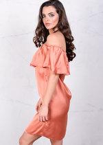 Lightweight Satin Off The Shoulder Frill Bardot Dress Rust Copper