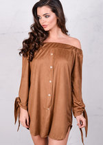 Lightweight Soft Touch Faux Suede Buttoned Bardot Dress Camel