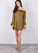 Lightweight Soft Touch Faux Suede Buttoned Bardot Dress khaki