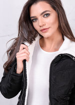 Lightweight White Faux Fur Puffer Padded Jacket Coat Black