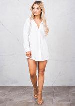 Dip Hem Long Sleeve Oversized Shirt Dress White
