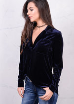 Long Sleeve Velvet Buttoned Up Relaxed Shirt Navy Blue