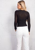 Mesh Long Sleeve Bodysuit Black
