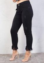 Mid Rise Fringe Hem Cropped Skinny Jeans Black