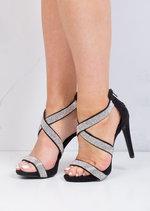 Multi Straps Diamante Heeled Sandals Black