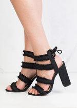 Multi Straps Distressed Denim Block Heel Sandals Black