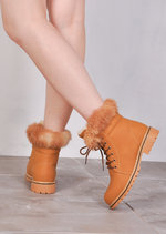 Nubuck Look Fur Fleece Cleated Ankle Boots Honey Tan