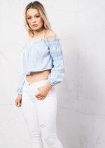 Off Shoulder Ruffle Detail Crop Shirt Top Blue