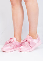 Oversized Bow Tie Satin Trainers Shoes Pink