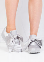 Oversized Bow Tie Satin Trainers Shoes Grey
